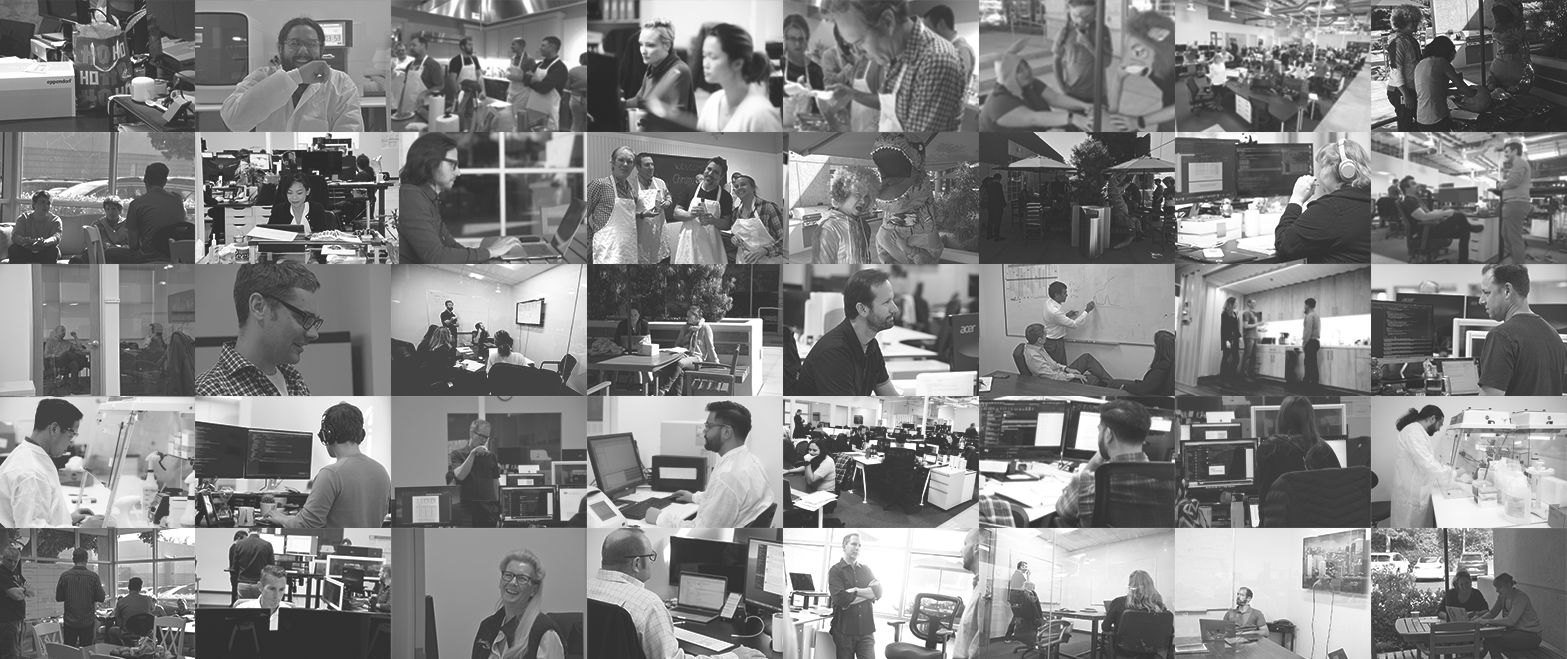 a grayscale collage of our employees at ChromaCode
